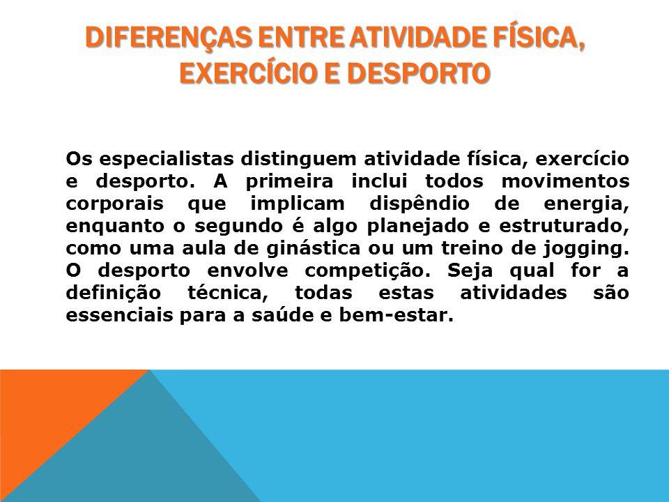 Diferenças entre Atividade física, Exercício e Desporto