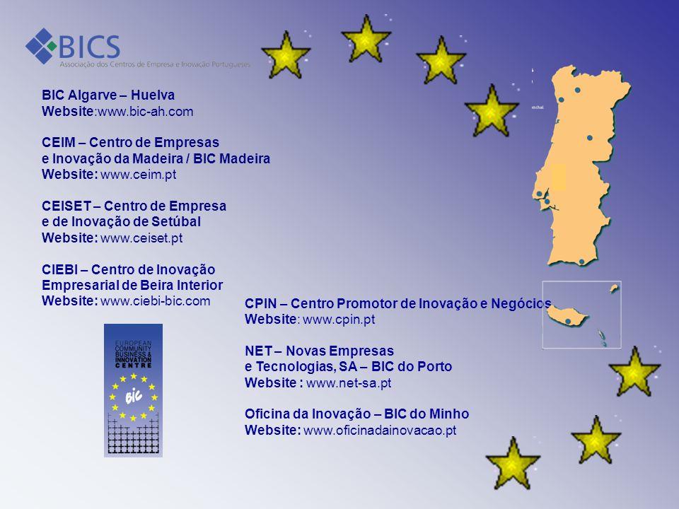 BIC Algarve – Huelva Website:www.bic-ah.com. CEIM – Centro de Empresas. e Inovação da Madeira / BIC Madeira.