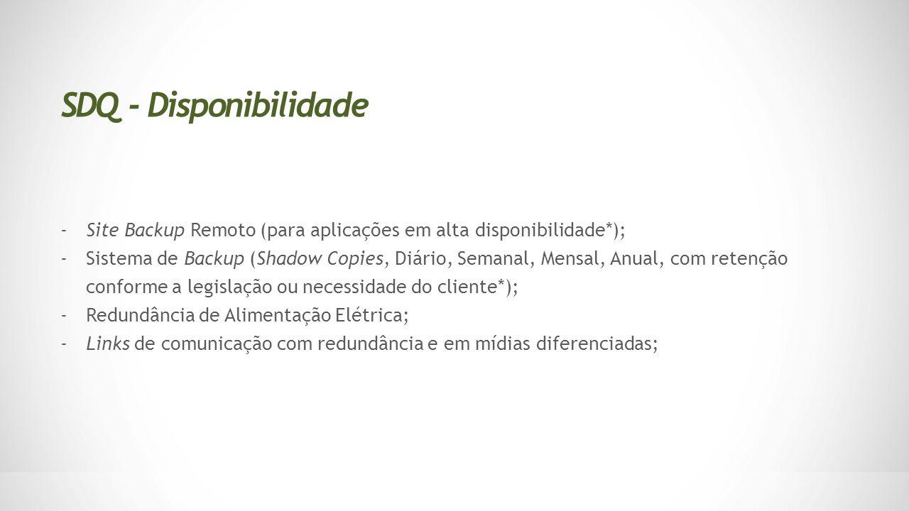 SDQ - Disponibilidade Site Backup Remoto (para aplicações em alta disponibilidade*);