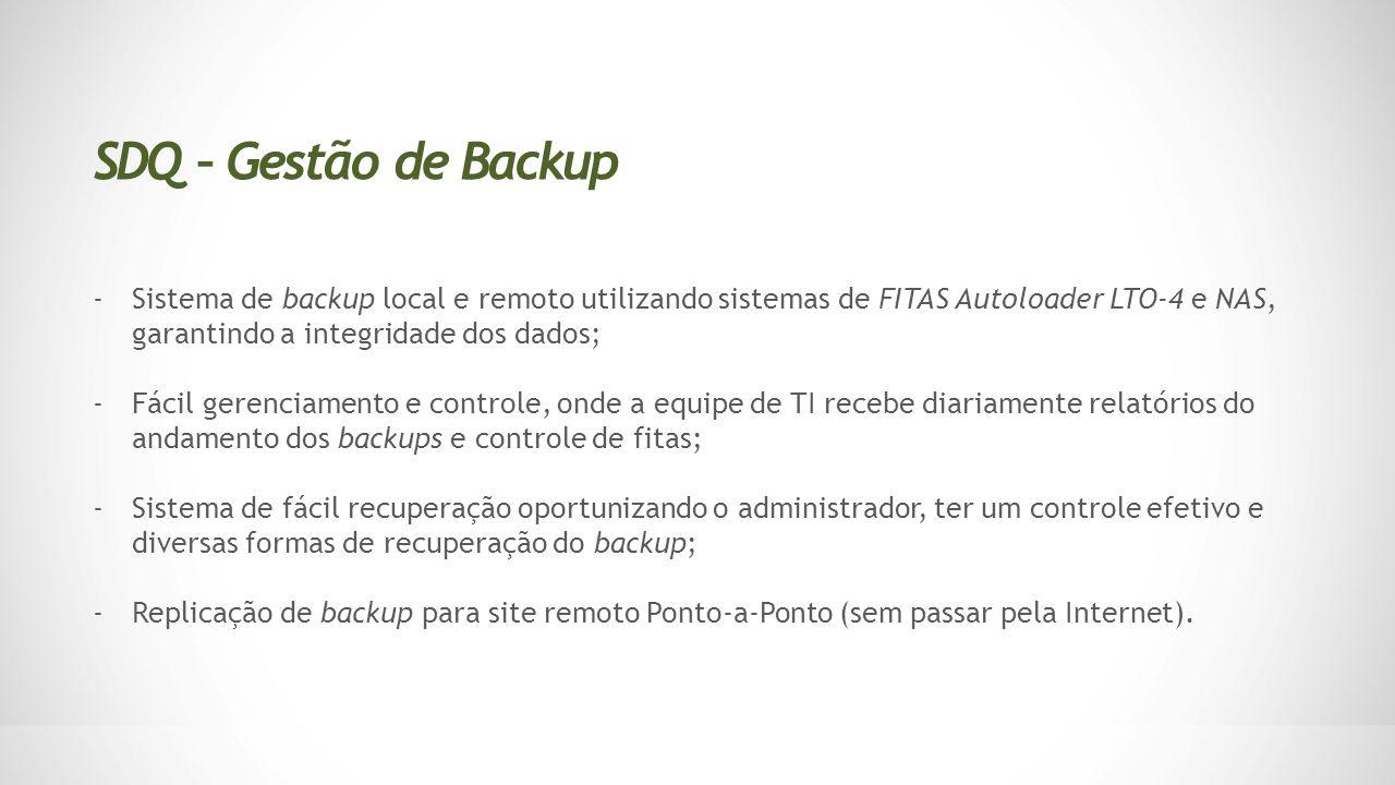 SDQ – Gestão de Backup Sistema de backup local e remoto utilizando sistemas de FITAS Autoloader LTO-4 e NAS, garantindo a integridade dos dados;