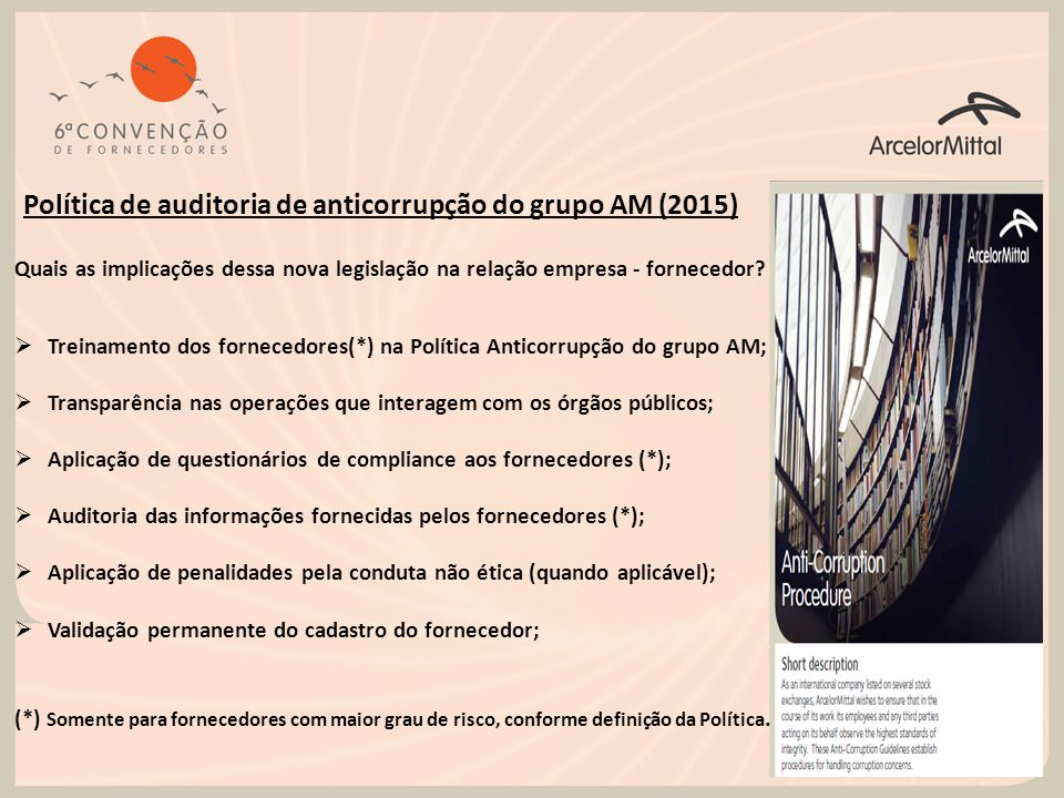 Política de auditoria de anticorrupção do grupo AM (2015)
