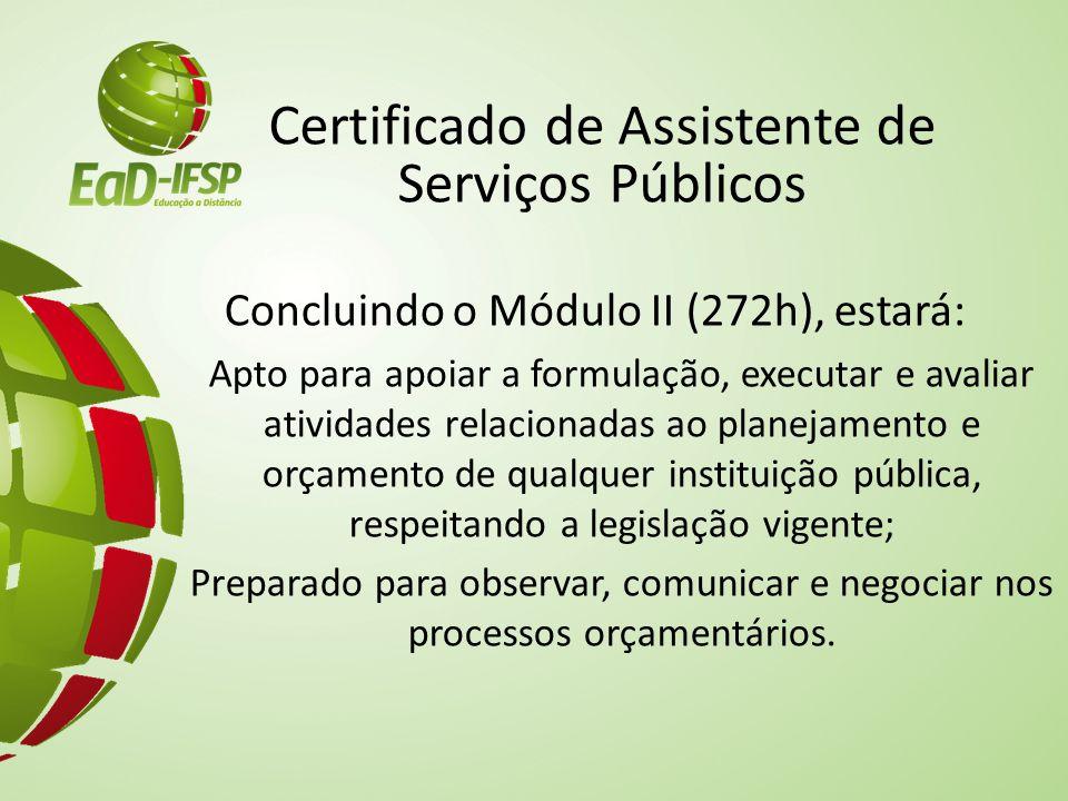 Certificado de Assistente de Serviços Públicos