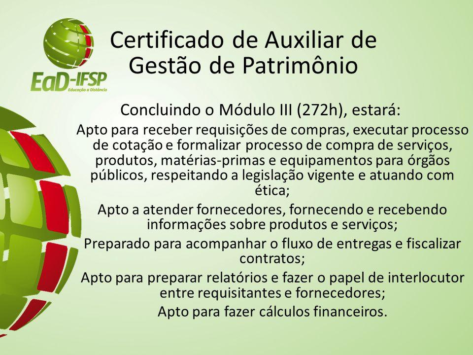 Certificado de Auxiliar de Gestão de Patrimônio