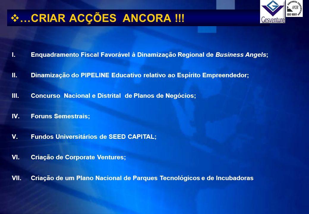 …CRIAR ACÇÕES ANCORA !!! Enquadramento Fiscal Favorável à Dinamização Regional de Business Angels;