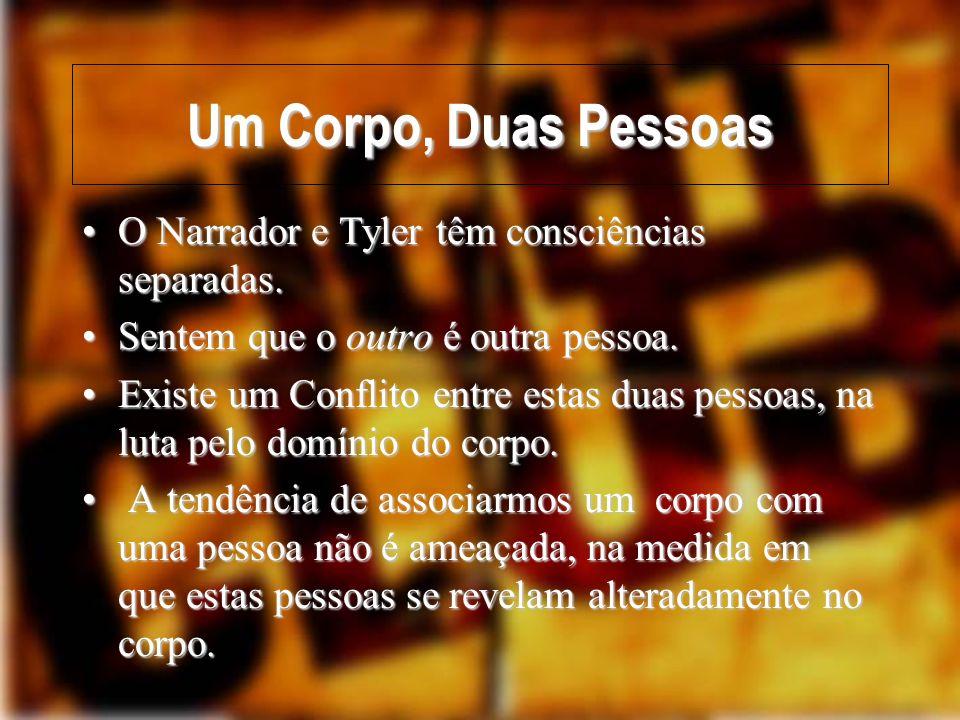 Um Corpo, Duas Pessoas O Narrador e Tyler têm consciências separadas.