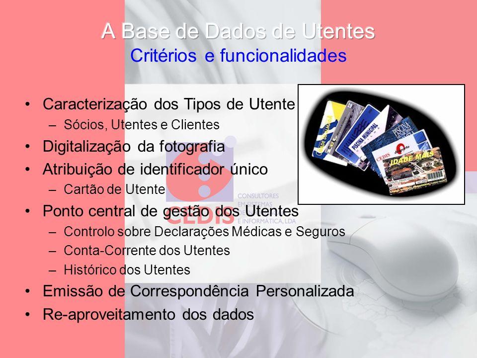 A Base de Dados de Utentes Critérios e funcionalidades