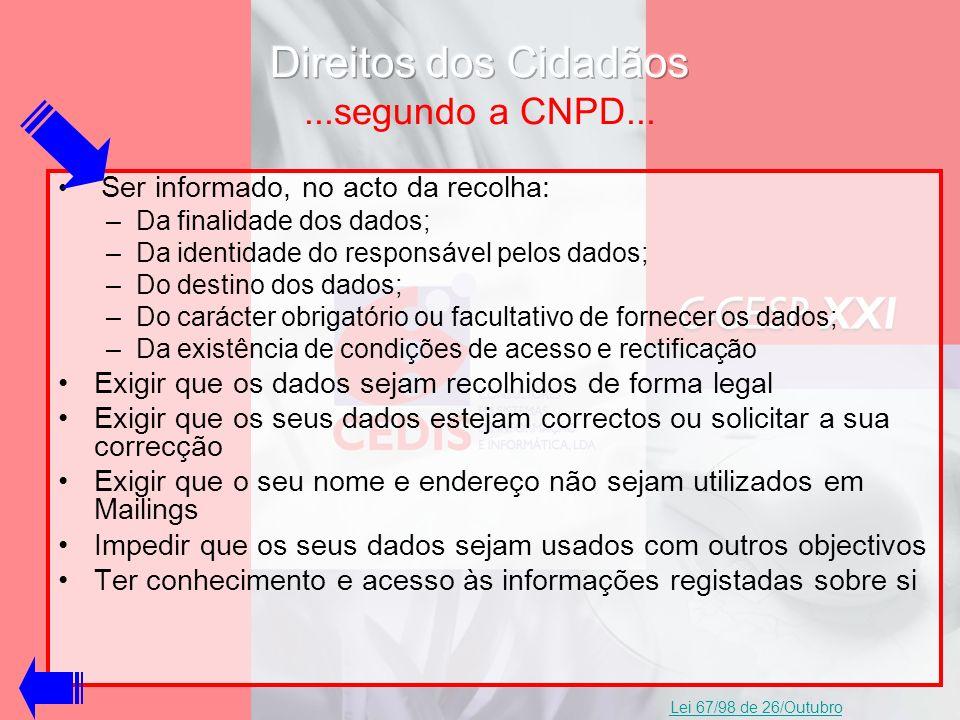 Direitos dos Cidadãos ...segundo a CNPD...