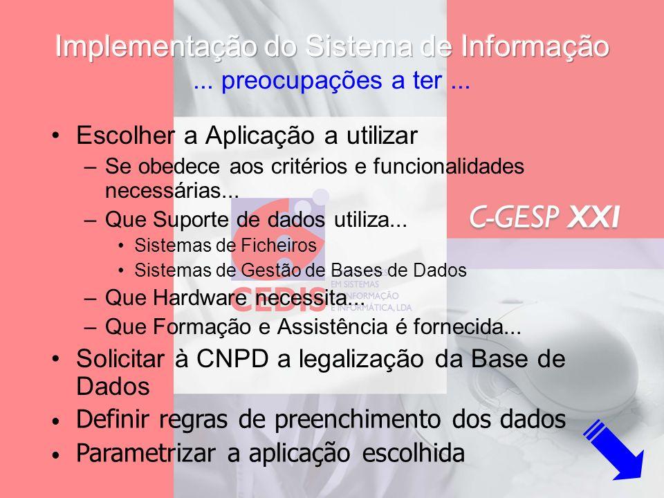 Implementação do Sistema de Informação ... preocupações a ter ...