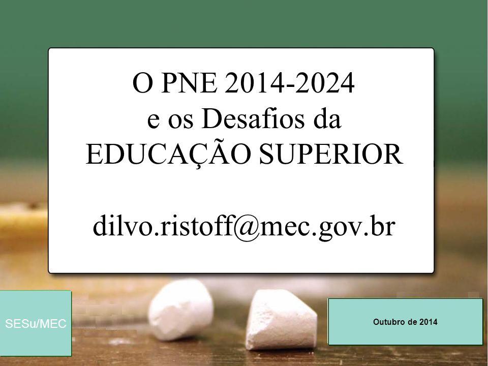 O PNE 2014-2024 e os Desafios da EDUCAÇÃO SUPERIOR dilvo. ristoff@mec