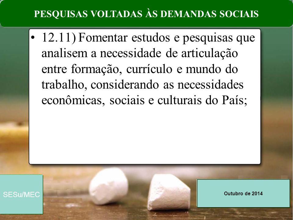 PESQUISAS VOLTADAS ÀS DEMANDAS SOCIAIS