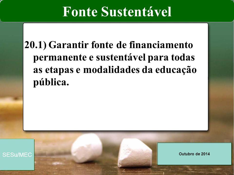 Fonte Sustentável 20.1) Garantir fonte de financiamento permanente e sustentável para todas as etapas e modalidades da educação pública.