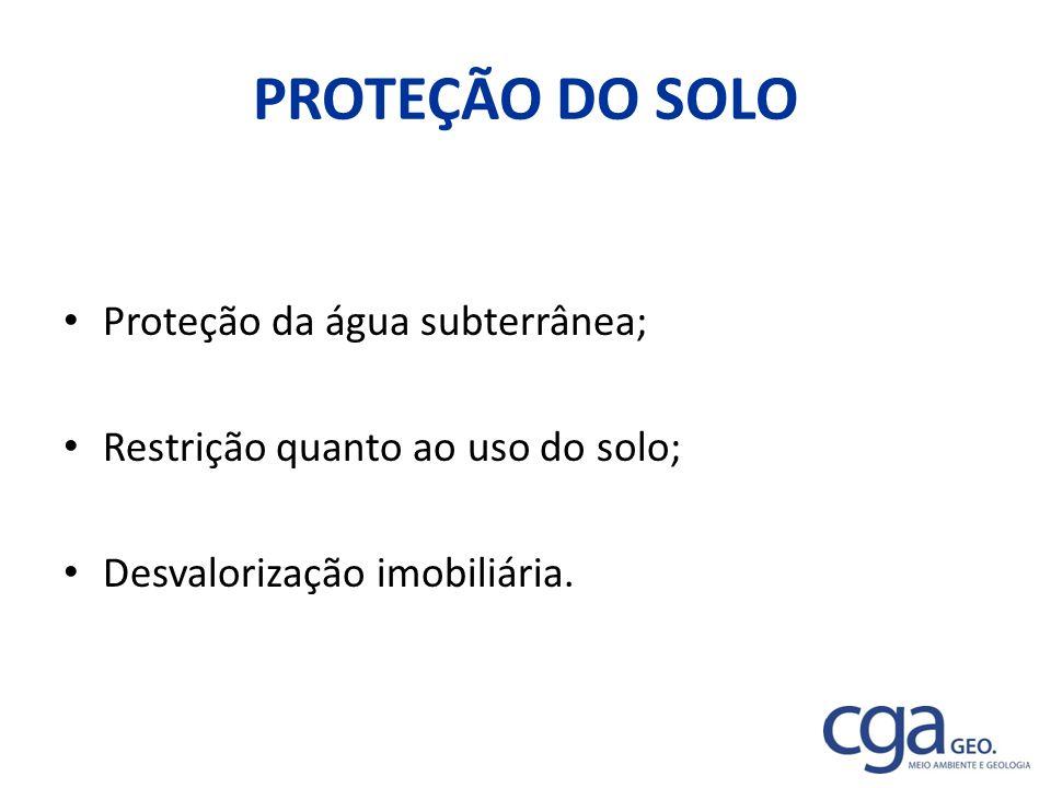 PROTEÇÃO DO SOLO Proteção da água subterrânea;