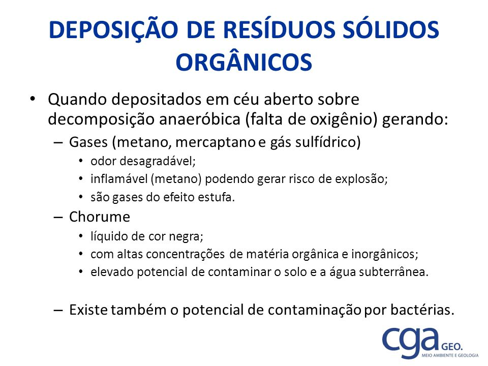 DEPOSIÇÃO DE RESÍDUOS SÓLIDOS ORGÂNICOS