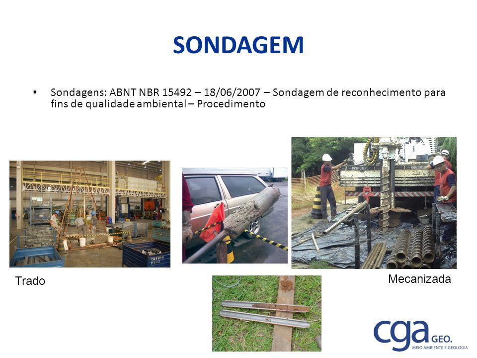 SONDAGEM Sondagens: ABNT NBR 15492 – 18/06/2007 – Sondagem de reconhecimento para fins de qualidade ambiental – Procedimento.
