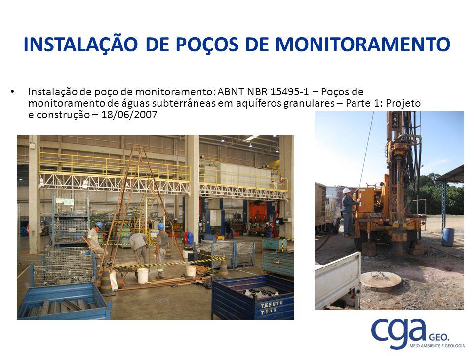 INSTALAÇÃO DE POÇOS DE MONITORAMENTO