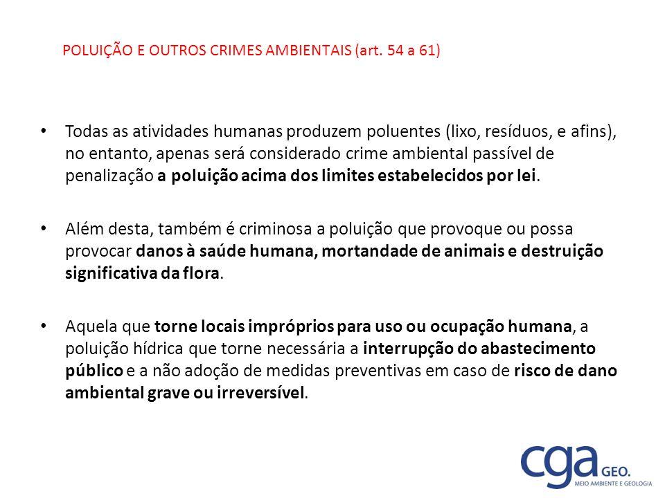 POLUIÇÃO E OUTROS CRIMES AMBIENTAIS (art. 54 a 61)