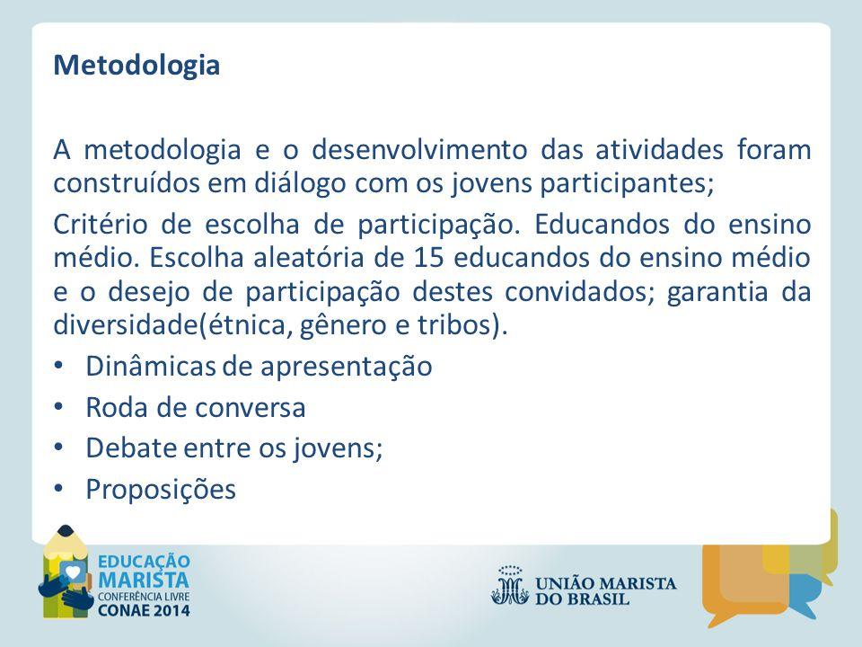 Metodologia A metodologia e o desenvolvimento das atividades foram construídos em diálogo com os jovens participantes;