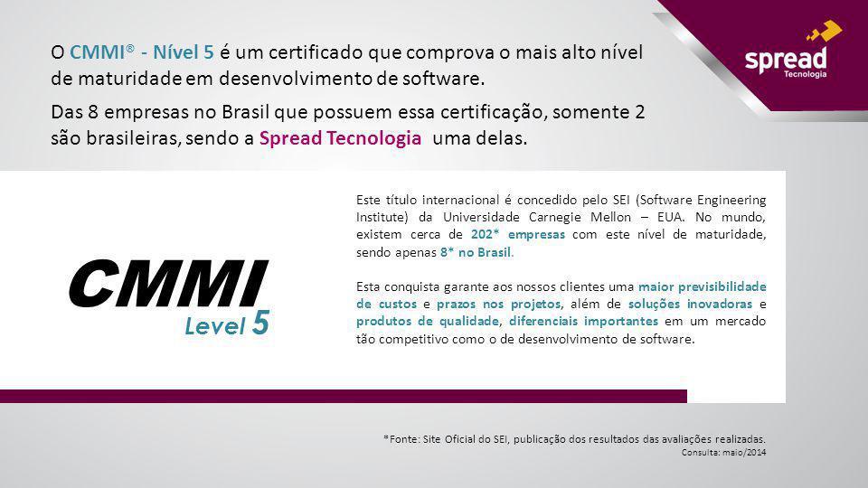 O CMMI® - Nível 5 é um certificado que comprova o mais alto nível de maturidade em desenvolvimento de software.