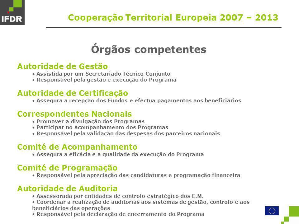 Órgãos competentes Cooperação Territorial Europeia 2007 – 2013