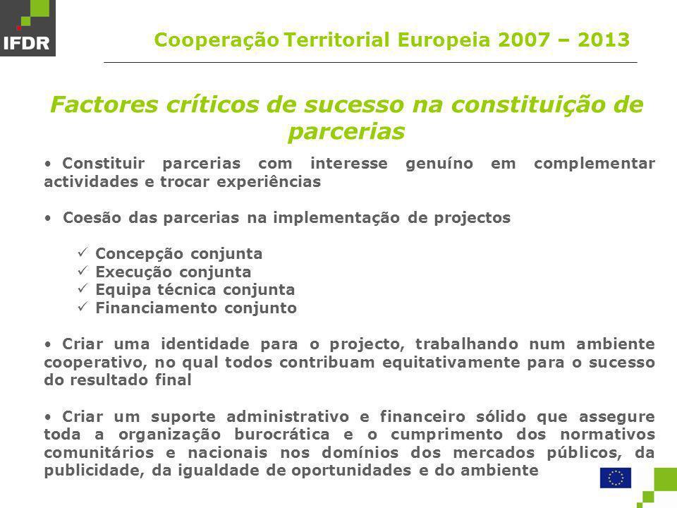 Factores críticos de sucesso na constituição de parcerias