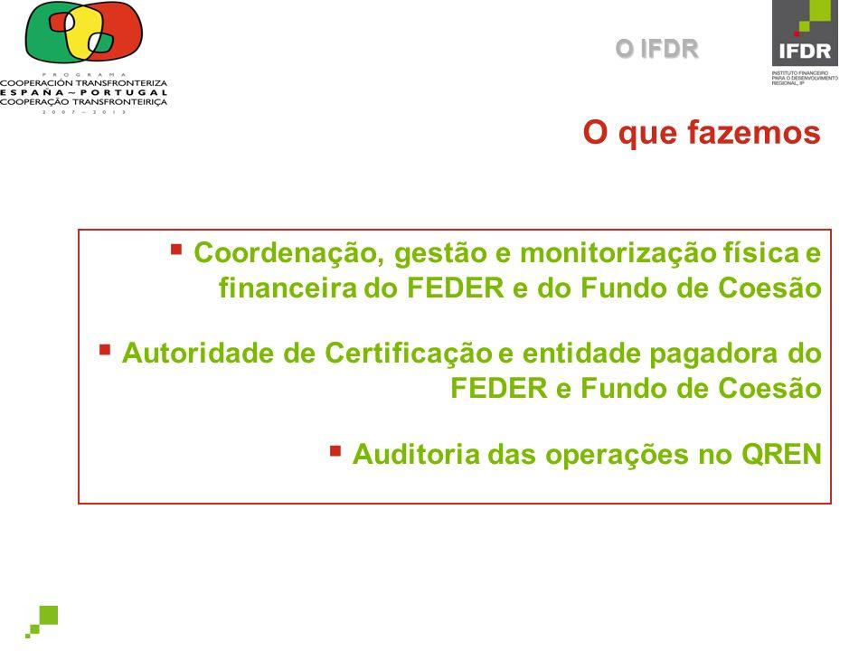 O IFDR O que fazemos. Coordenação, gestão e monitorização física e financeira do FEDER e do Fundo de Coesão.