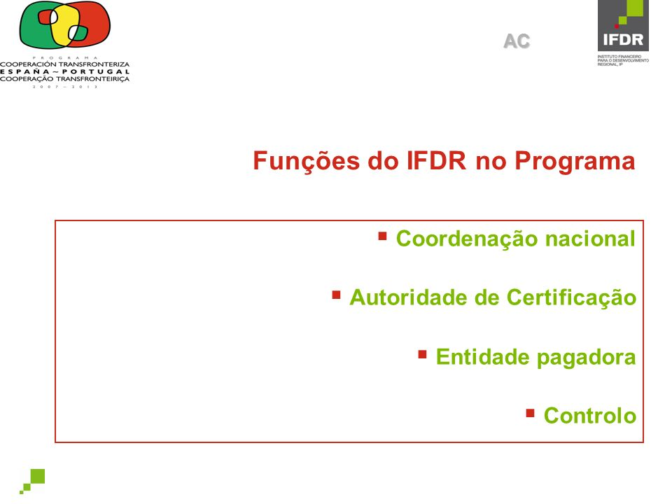 Funções do IFDR no Programa