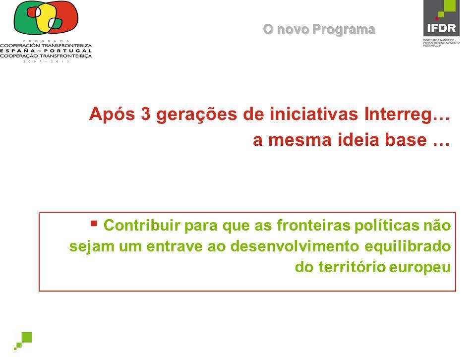 Após 3 gerações de iniciativas Interreg… a mesma ideia base …