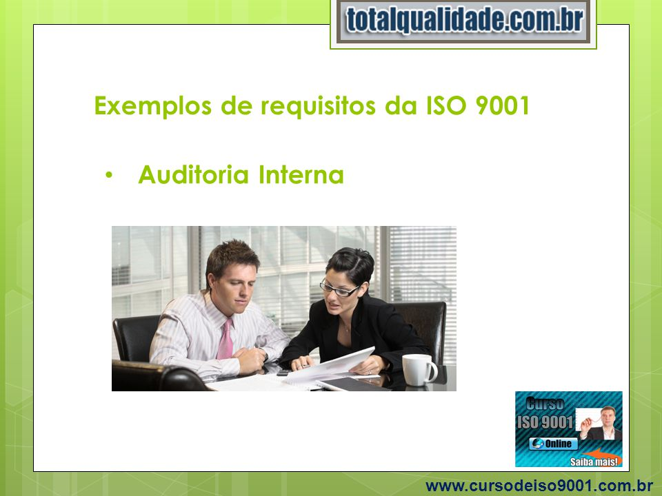 Exemplos de requisitos da ISO 9001