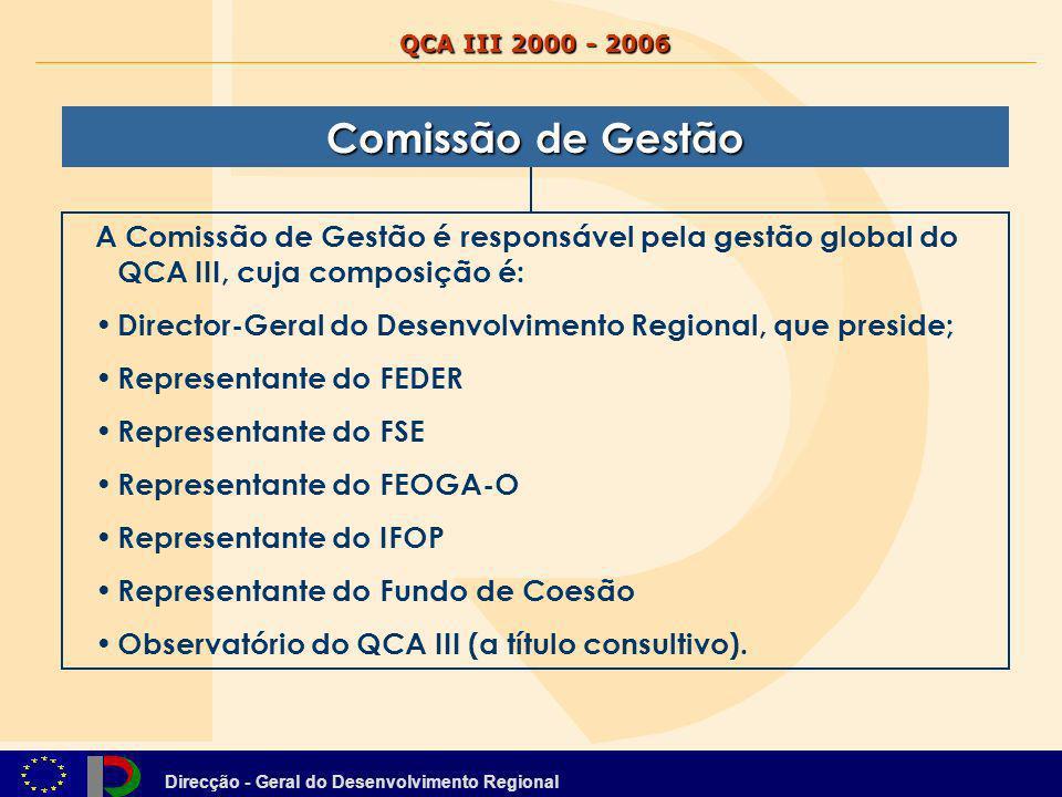 QCA III 2000 - 2006 Comissão de Gestão. A Comissão de Gestão é responsável pela gestão global do QCA III, cuja composição é: