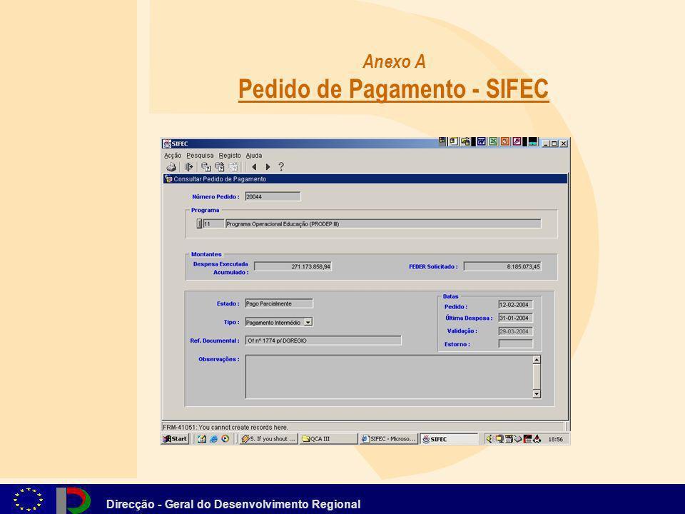 Anexo A Pedido de Pagamento - SIFEC