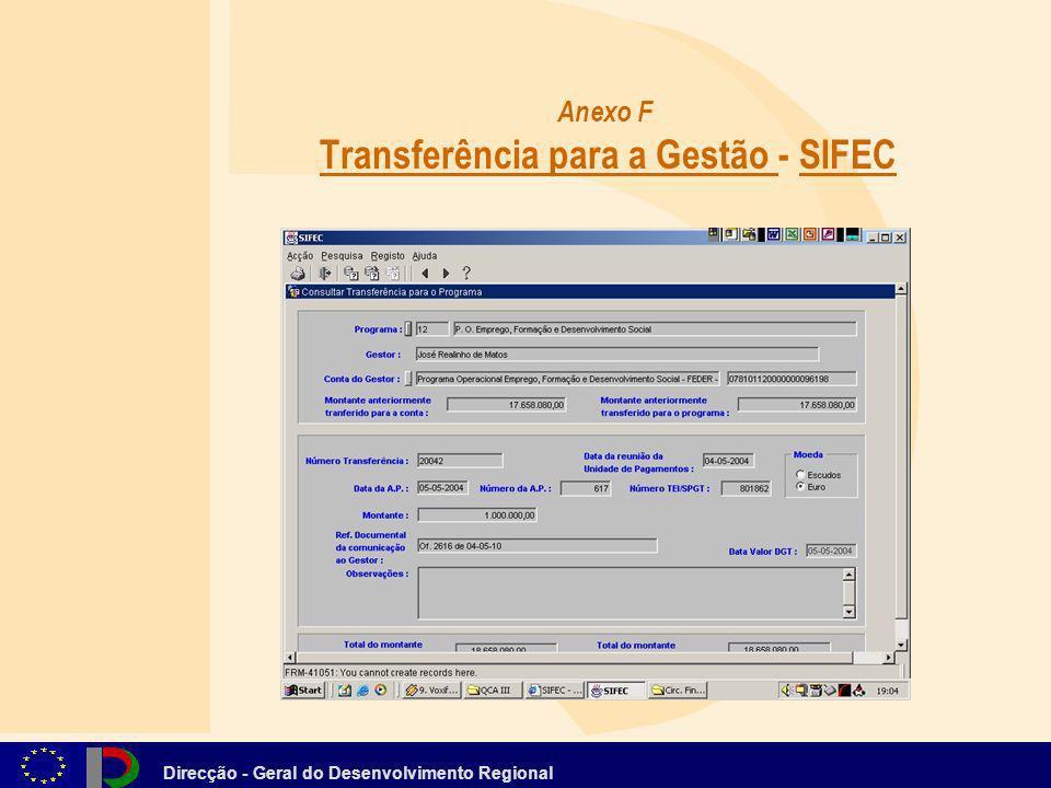 Anexo F Transferência para a Gestão - SIFEC