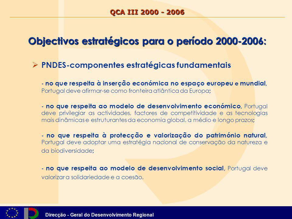 Objectivos estratégicos para o período 2000-2006: