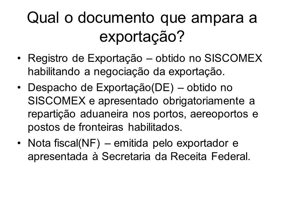 Qual o documento que ampara a exportação