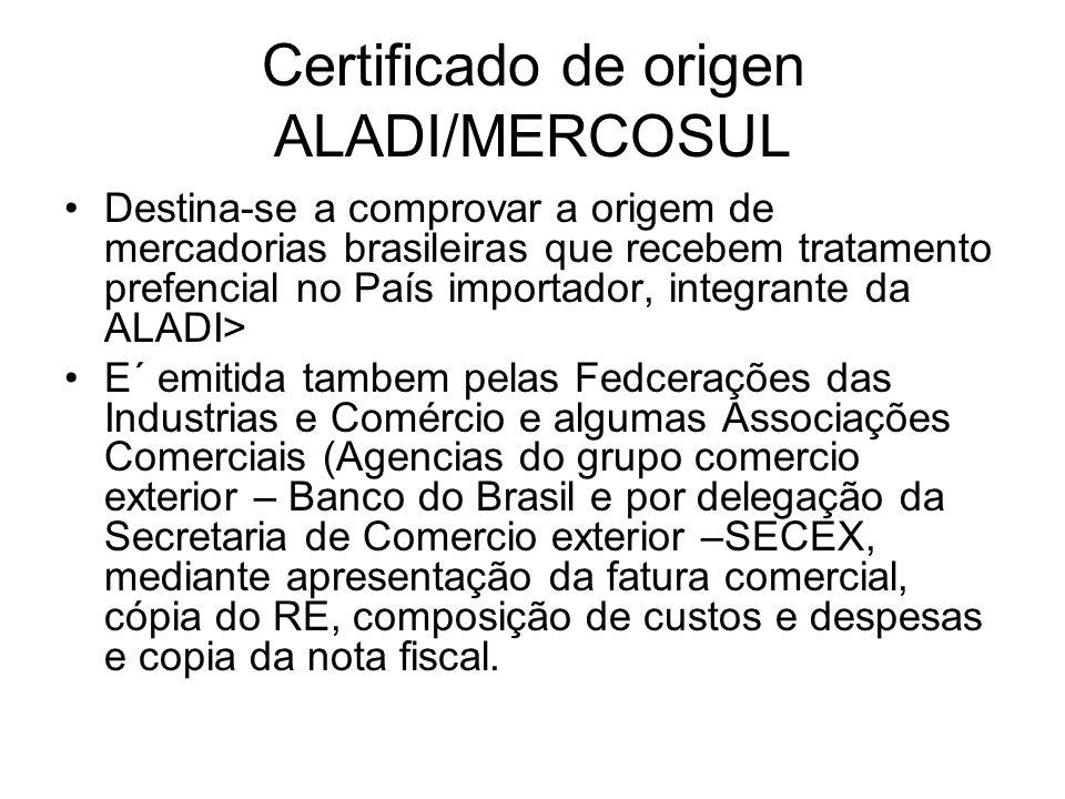 Certificado de origen ALADI/MERCOSUL