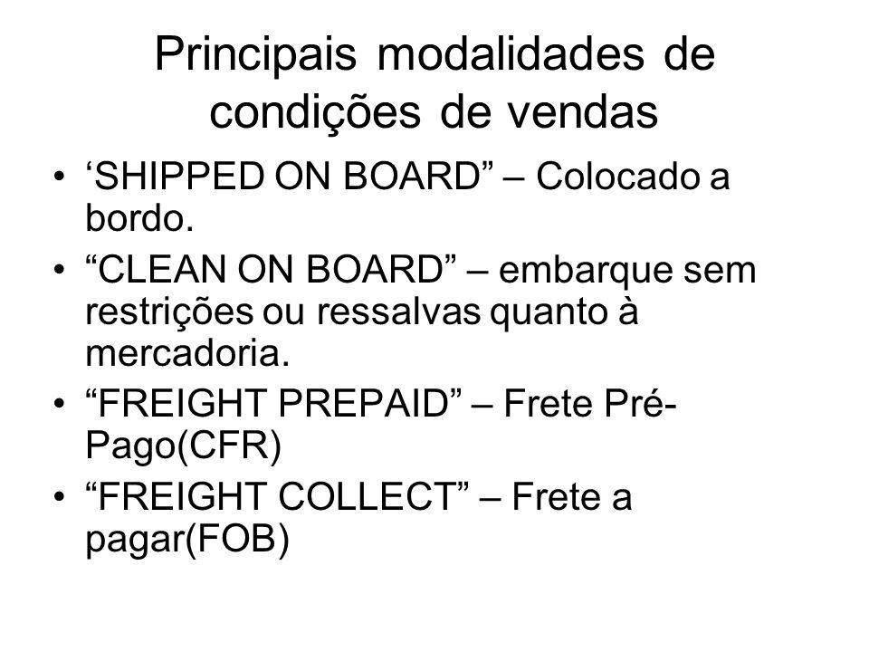 Principais modalidades de condições de vendas