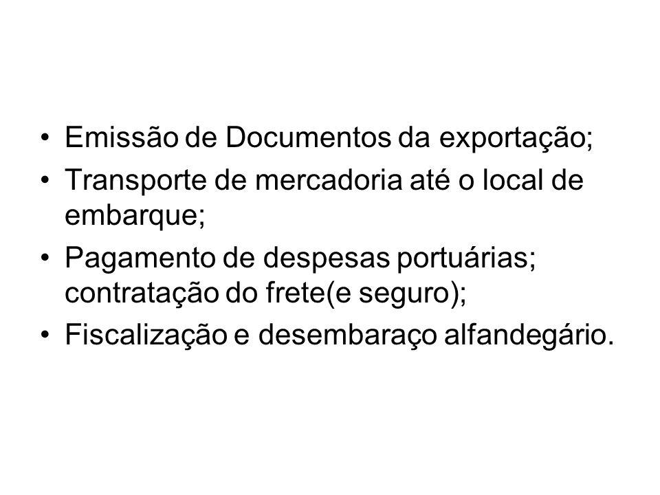 Emissão de Documentos da exportação;