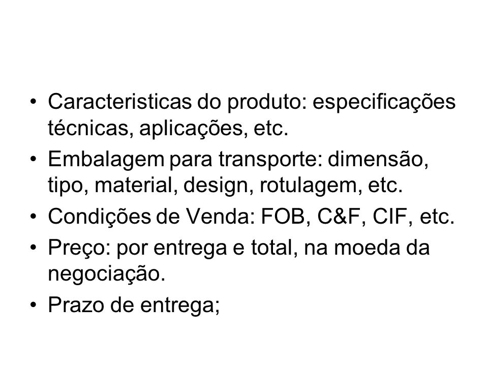 Caracteristicas do produto: especificações técnicas, aplicações, etc.