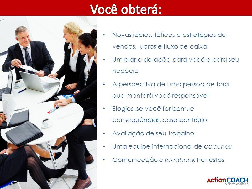 22/05/2009 Você obterá: Novas ideias, táticas e estratégias de vendas, lucros e fluxo de caixa. Um plano de ação para você e para seu negócio.
