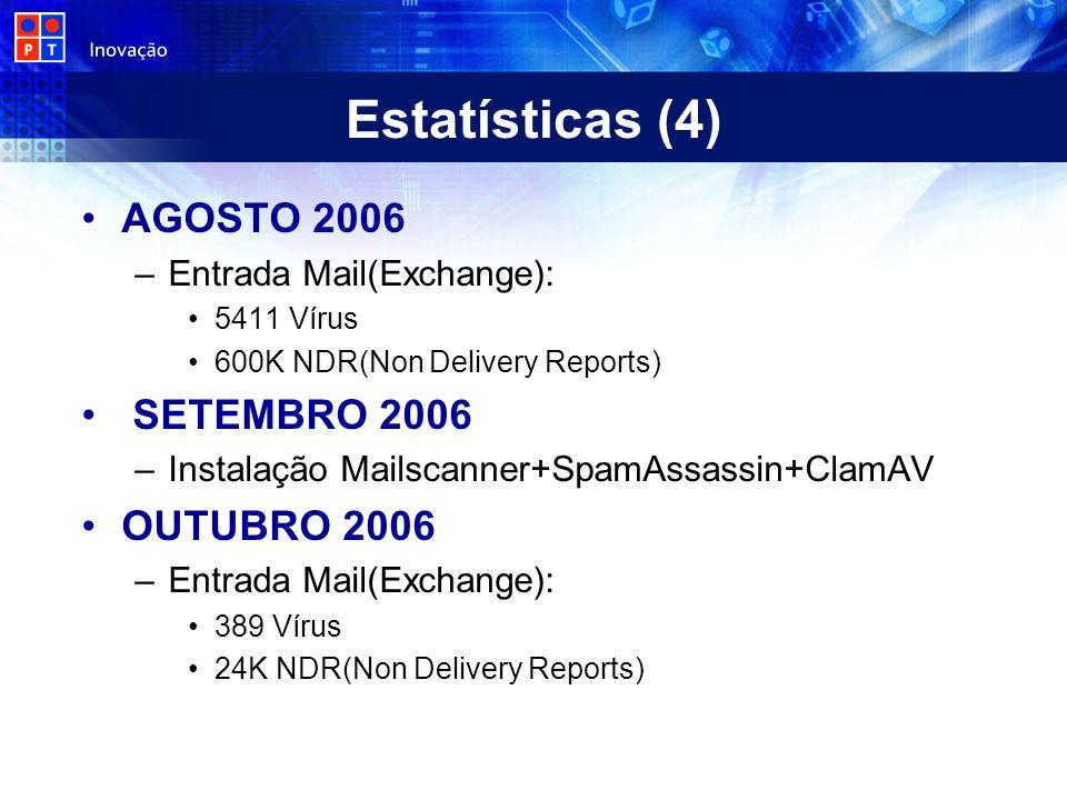 Estatísticas (4) AGOSTO 2006 SETEMBRO 2006 OUTUBRO 2006