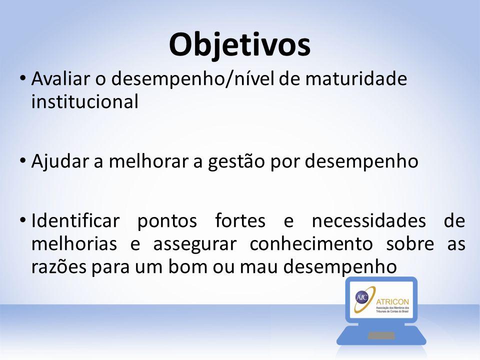 Objetivos Avaliar o desempenho/nível de maturidade institucional