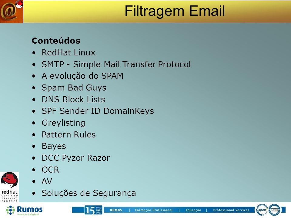 SMTP - Simple Mail Transfer Protocol A evolução do SPAM Spam Bad Guys