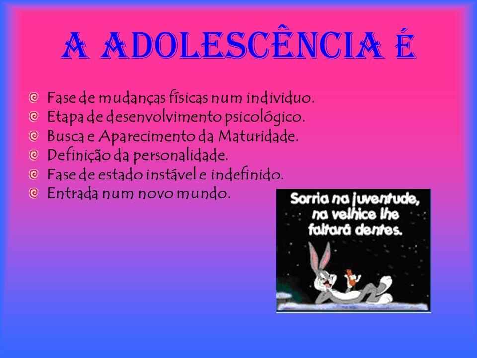 A ADOLESCÊNCIA é Fase de mudanças físicas num individuo.
