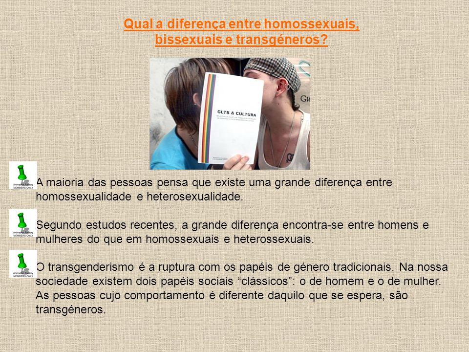 Qual a diferença entre homossexuais, bissexuais e transgéneros
