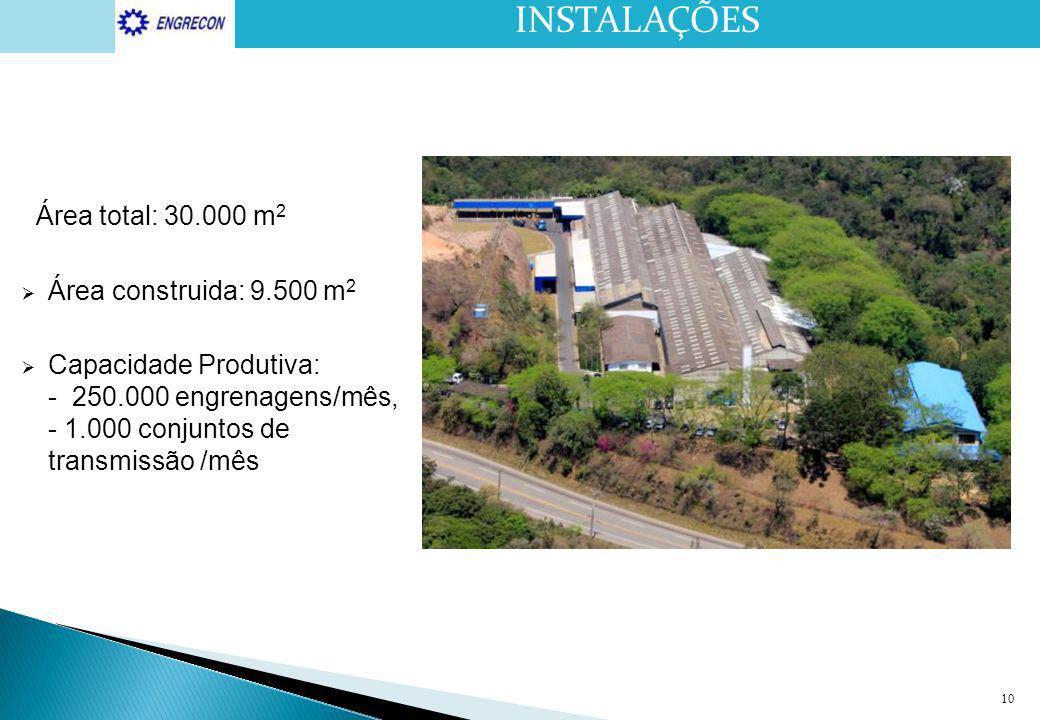 INSTALAÇÕES Área total: 30.000 m2 Área construida: 9.500 m2