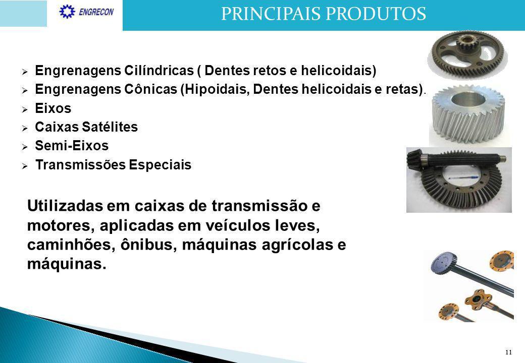 PRINCIPAIS PRODUTOS Engrenagens Cilíndricas ( Dentes retos e helicoidais) Engrenagens Cônicas (Hipoidais, Dentes helicoidais e retas).