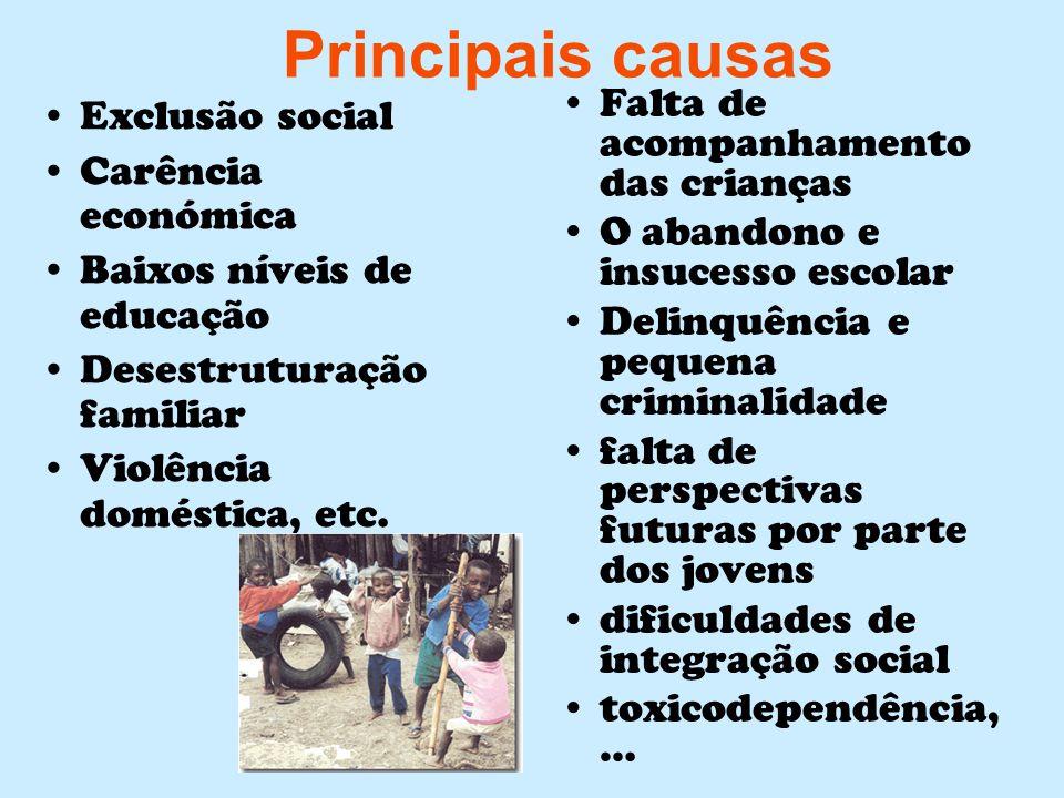 Principais causas Falta de acompanhamento das crianças Exclusão social