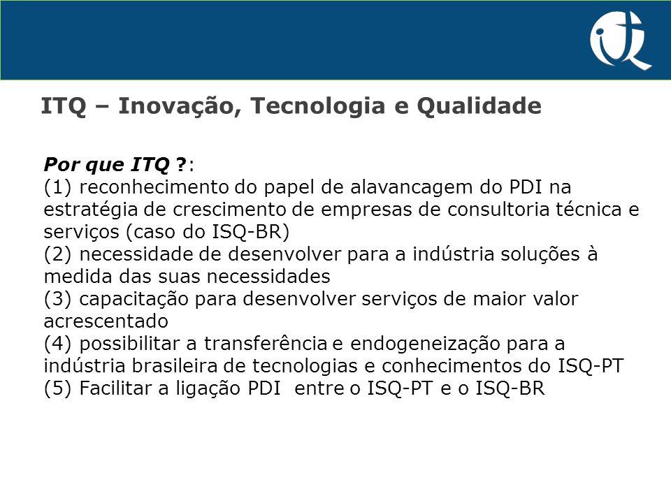 P&D&I ITQ – Inovação, Tecnologia e Qualidade Por que ITQ :