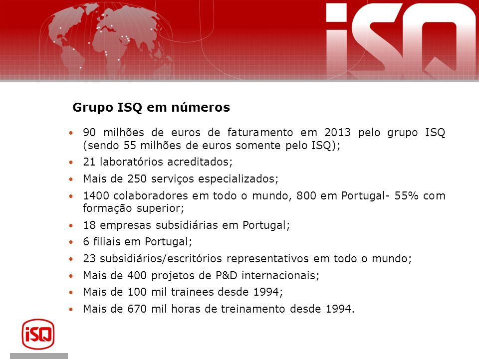 Grupo ISQ em números 90 milhões de euros de faturamento em 2013 pelo grupo ISQ (sendo 55 milhões de euros somente pelo ISQ);