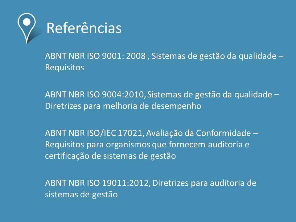 Referências ABNT NBR ISO 9001: 2008 , Sistemas de gestão da qualidade –Requisitos.