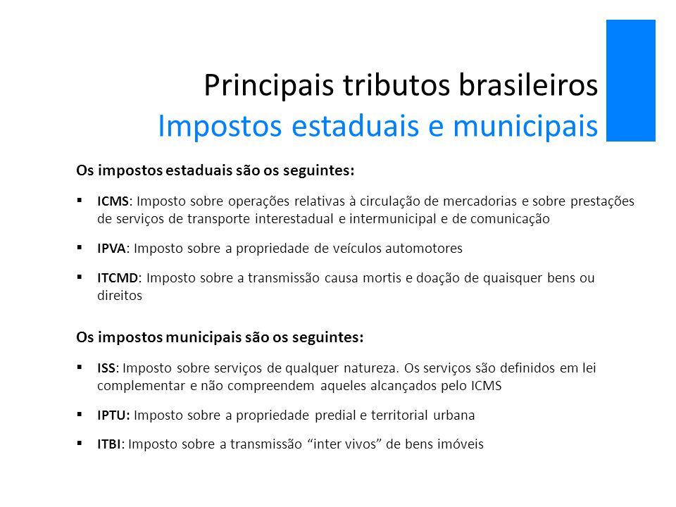 Principais tributos brasileiros Impostos estaduais e municipais
